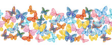 Seamless Border With Fancy Flying Butterflies. Watercolor Painting