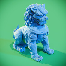 Lowpoly Chinese Lion Guardian Sculpture