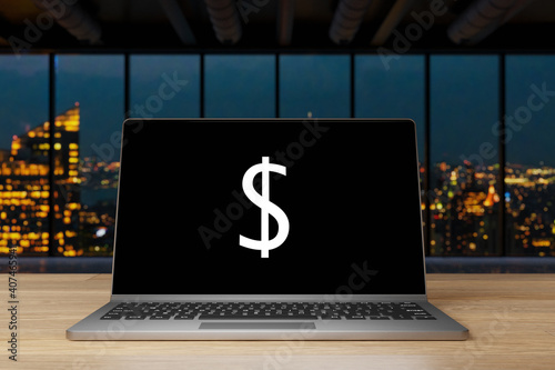 Obraz laptop with black screen and dollar currency symbol on wooden desk with nighttime skyline in the background, 3D Illustration - fototapety do salonu