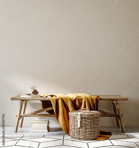 Tableau sur Toile Bench with decor close up in home interior background, wall mock up, 3d render
