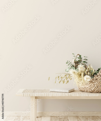 Photographie Bench with decor close up in home interior background, wall mock up, 3d render