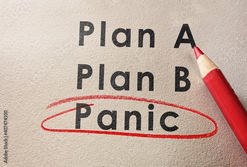 Panic text circled in red pencil below Plan A and Plan B Fotobehang