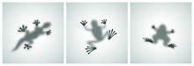 Diffuse Reptiles Silhouettes Shadow Abstract Vector Images Set. Toad, Frog, Lizard, Gecko Or Chameleon Sitting On A Matte Glass. Isolated