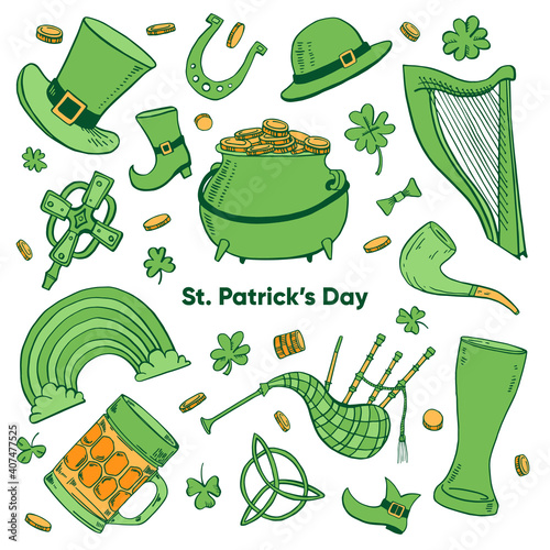 Canvas Print Saint Patrick's Day traditional objects set