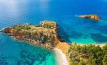 Amazing Beach Of Kokkinokastro With Orange Sand In Alonnisos Island, Sporades, Greece.