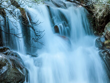 Waterfall Of A Mountain River With Motion Blur