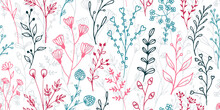 Field Flower Sprouts Hand Drawn Vector Seamless Ornament. Beautiful Herbal Fabric Print. Wild Plants Leaves And Buds Wallpaper. Field Flower Sprigs Girly Fashion Repeating Pattern