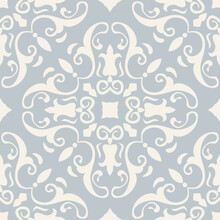 Seamless Damask Pattern. Majolica Pottery Tile, Blue, White Azulejo, Original Traditional Portuguese And Spain Decor. Seamless Pattern With Victorian Motives. Vector Illustration.
