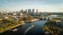 Tampa, FL USA - 1-20-2021: Grandious Aerial View Over The Hillsborough River Leading To Downtown Tampa.
