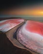 Aerial View Of Pink Salt Lake At Sunset. Vertical Panorama