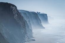 Stunning Misty Cliffs Of California Coastline Along San Gregorio State Beach. California, USA, Earth.