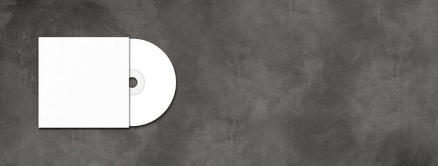 White CD - DVD mockup template isolated on concrete background banner