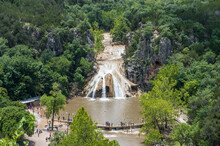 Aerial View Of The Breathtaking Turner Falls On A Bright Summer Sunny Day. Oklahoma, USA, Earth.
