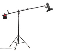 Flash Light With Beauty Dish On Boom Stand With Wheels. Studio Lighting Equipment Isolated On White Background