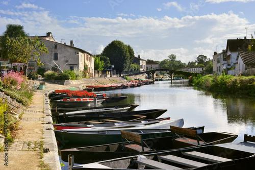 Fotografie, Obraz Coulon (79510) et ses barques en épis sur la Sèvre Niortaise, département des Deux-Sèvres en région Nouvelle-Aquitaine, France