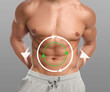Metabolism concept. Man with perfect body on grey background, closeup