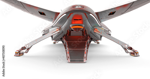 Fotografiet master spaceship in white background close up on rear ramp