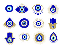 Evil Eye Or Turkish Eye Symbols And Icons Set. Modern Amulet Design And Home Decor Idea