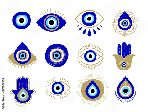 Fototapeta Evil eye or Turkish eye symbols and icons set. Modern amulet design and home decor idea obraz