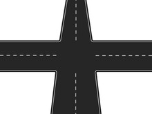 Four Way Road. Black Highway With Intersection And White Markings Traffic Crossroads With Finding Right Vector Direction.