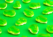 canvas print picture - Background of Gummy Green Frogs with a Mashmallow Candy Bottom Layer