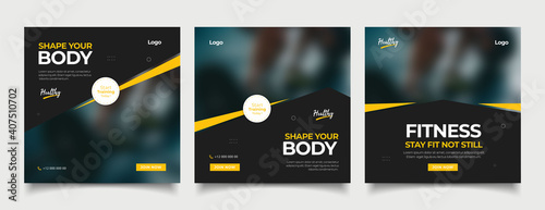 Obraz Gym Fitness social media post template - fototapety do salonu