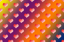 Hearts Over Rainbow Background. Hearts Pattern In Flat Design