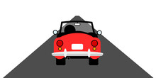 Old Retro And Vintage Red Car, Auto And Vehicle Is Moving And Riding On Straight Road. Travelling And Journey To The To The Vanishing Point. Vector Illustration.