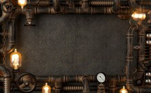 Background Dark Wall Loft Steampunk Lamp From Pipes