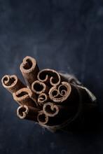 Top View Of Cinnamon Sticks