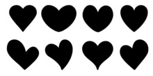 Set Of Black Hearts On White Background. Heart Shaped Silhouette For Valentine's Day. Greeting Cards. Vector Flat