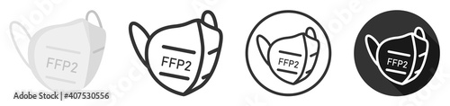 FFP2 face mask icon symbol logo set collection vector