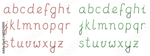 Two hand drawn colored alphabet calligraphy sets in doodle style with pearls or beads. Hand written isolated vector typography letters on white background