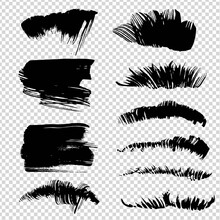 Black Abstract Straight And Fur Or Grass Texture Thick Brush Textured Strokes On Imitation Transparent Background