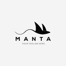Silhouette Manta Fish Logo Vector Illustration Design. Stingray Swimming Symbol