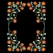 Rectangular Floral Design Or Frame With Ornate Flower Branches. Folk Style. On Black Background.  Oval Ornament With Blooming Vines.