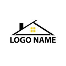 Black House Logo Design. Simple And Flat Logo Design. Logo Design For Building Company.