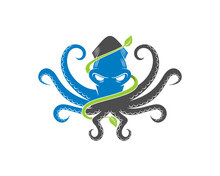 Octopus With Green Leaf Surrounding