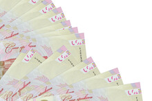 100 Ukrainian Hryvnias Bills Lies Isolated On White Background With Copy Space Stacked In Fan Close Up