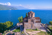 Church Of St. John At Kaneo, Is A Macedonian Orthodox Church Situated On The Cliff Over Kaneo Beach Overlooking Lake Ohrid