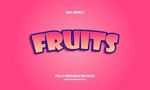 Modern Text Effect Fruits Editable Vector Illustration