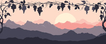 Narrow Landscape -- Bunches Of Grapes At Sunset. Vector Illustration, Narrow Background, Night In The Vineyard.