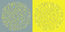 Explosion Effect Of Random Radial Black, Gray And Yellow Lines. Illuminating And Ultimate Gray. Floral Abstract Circular Pattern. Vector Illustration