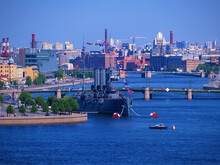 Russia, St. Petersburg - June 24, 2020: Cruiser Aurora, The Famous Landmark, St Petersburg, Russia