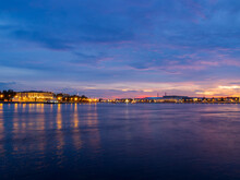 Sunset Over The Neva River In St. Petersburg