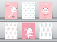 Set Of Cute Animals Poster ,template ,cards, Animal,Vector Illustrations