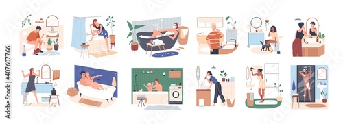 Obraz Scenes of daily hygiene routine in bathroom. People bathing, shaving, brushing teeth and sitting on toilet seat. Personal morning care. Colored flat vector illustration isolated on white background - fototapety do salonu