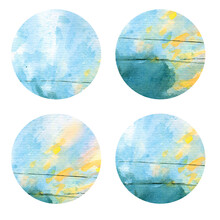 Watercolor Four Abstract Circles. Web Template, Postcard. Colorful Round Stains, Sky, Paint Splashes, Wave Lines, Psychedelic Design. Social Media Buttons, Clothes Print. Raster Stock Illustration.