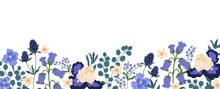 Backdrop With Border Of Spring Blooming Flowers. Bluebells, Irises, Eucalyptus, Eryngium And Forget-me-nots Isolated On White Background. Floral Flat Vector Illustration Isolated On White Background