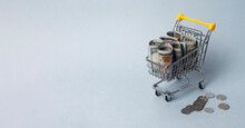 Shopping Cart With Money. Concept Of Purchasing Power And Expenses On Food